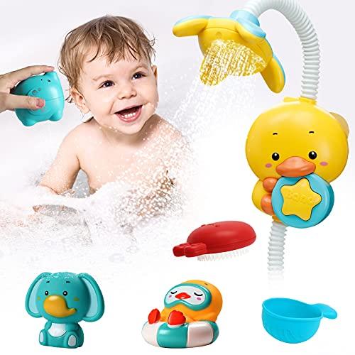 Baby Badespielzeug Duschkopf für Kinder - 360 Grad verstellbarer elektrischer Enten wasserspielzeug Zwei Sprühmodi mit Gummiente, Elefanten badewannenspielzeug set für Kleinkinder ab 18 Monaten+