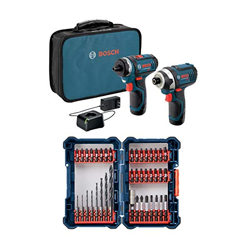 Bosch 12V Max 2-Tool Combo Bundle with Batteries, Charger, Case and 40-Piece Impact Tough Drill Driver Custom Case System Set (2 Items)