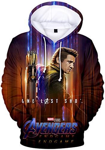 FLYCHEN Felpa con Cappuccio per Uomo 3D Stampato Cosplay Costume Poster Avengers 4 Endgame Superhero MCU Infinite Legends Iron Man - Hawkeye - S