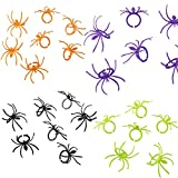Crazy Night Halloween Spider Rings Plastic Cupcake Topper Halloween Party Favors -144 pcs (Multicolored)