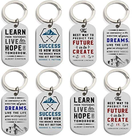 12 Pack Motivational Keychains with Inspirational Quotes Wholesale Bulk Keychains for Corporate product image