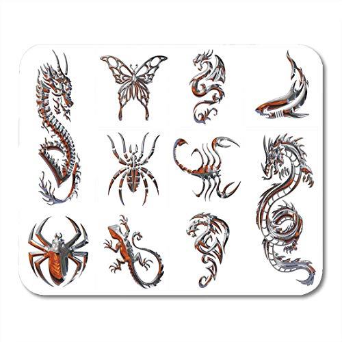 Mauspads Tribal Dragon Chrome Sammlung von Figuren auf White Tattoo Mouse Pad für Notebooks, Desktop-Computer Matten Büromaterial