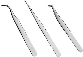 Quewel Lash Eyelash Extension Tweezers Set Eyelash Applicator Tool Curved and Straight pointed Tweezers Lash Extension Sup...