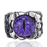 Elfasio Men's Women's Hellfire The Devil's Eye Purple Stainless Steel Ring Biker Jewelry Size 10