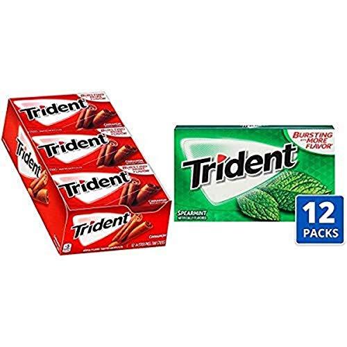 Trident Cinnamon Sugar Free Gum - with Xylitol - 12 Packs with Trident Spearmint Flavor Sugar Free Gum - 12 Packs