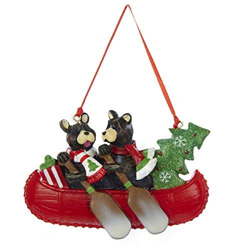Kurt Adler 2.5' Resin Two Bear Canoe Family Ornament