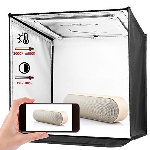 amzdeal Caja de Luz Fotografía Estudio Portátil 3000-6500K Temperatura de Color Brillo Regulable (2w-60w) con 4 Fondos (Negro/Blanco/Gris/Azul), 240 LEDs