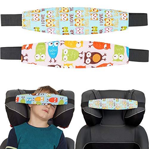 Kindersitz Kopfhalter, süßes Design für Mädchen, 2 Pack, Einstellbare Laufställe, Schlaf Stellungsregler für Kindersitz, Kinderwagen, Kopf Halter für Autofahrt, Autositz Befestigung Schlafen, Kopfband