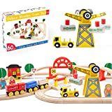 60 Pcs Crane Train Set-Wooden Tracks & Exclusive Crane & Trains- Fits Thomas, Chuggington, Melissa- Gift Packed Toy Railway Kits- Kids Friendly Building Toy for 3+ Years Old Girls & Boys