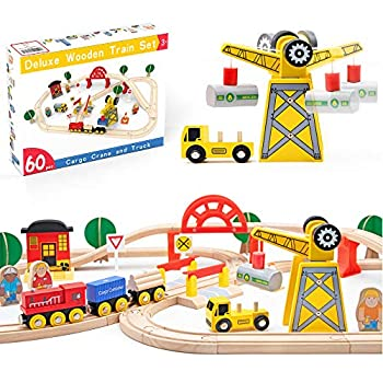 Crane Train Set-60Pcs- Wooden Tracks & Exclusive Crane & Trains-Fits Thomas Brio Chuggington Melissa- Gift Packed Toy Railway Kits- Kids Friendly Building Toy for 3+ Years Old Girls & Boys