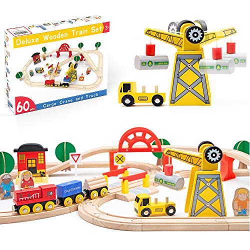 Crane Train Set- Wooden Tracks & Exclusive Crane & Trains-60 Piece Fits Thomas, Brio, Chuggington, Melissa- Gift Packed Toy Railway Kits- Kids Friendly Building Toy for 3+ Years Old Girls & Boys