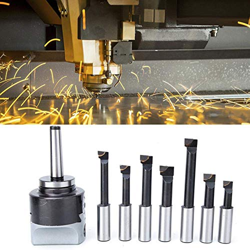 YASE-king 18Pcs Boring Head R8 MT2 Boring Bar Set,High Accuracy English Lathe Process Boring And Milling Cnc Machine Woodturning Tool Accessories Carbon Steel F1 Boring Cutter 0.005''
