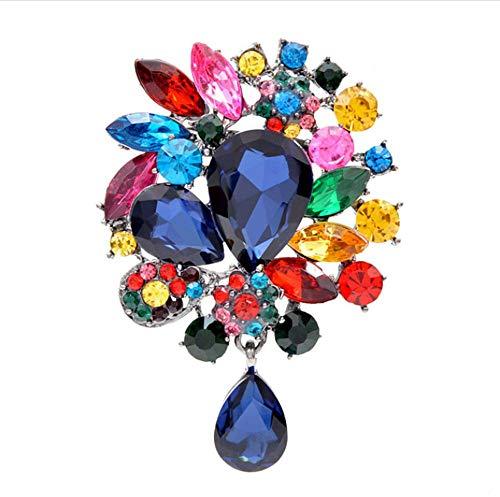 Diozet Broches,Grandes broches de Flores de Cristal con Gotas de Agua, para Mujeres Ramo de Boda Broche Broche Abrigo Bolsa Accesorios Regalo CG