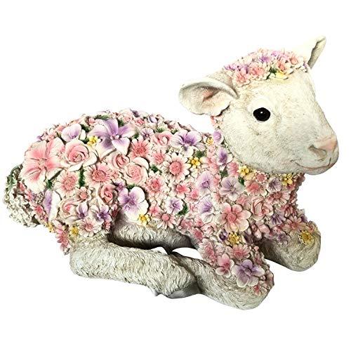 OF Gartenfiguren Schaf mit Blumen verziert - Dekofiguren für außen - Wetterfest (Schaf liegend)