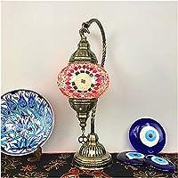 AERVEAL モロッコスタイルの常夜灯、ステンドグラスのランプシェード、リビングルームの寝室のカフェドレッサー用のレトロなテーブルランプ、E14電球、ブロンズ照明(色:5),5