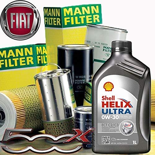 Tecneco Kit Huile Moteur 5 l Shell Helix Ultra ect C2/C3 0 W-30 + filtres Mann Filter-Fiat 500 x 1.6 multijet DFP/14-