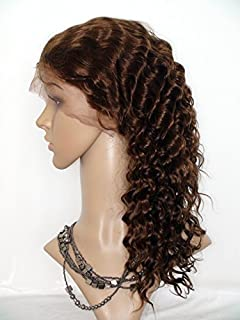High-Quanlity Front Lace Wig Real With Stretch Lace Back Cambodian Virgin Remy Human Hair Deep Wave Color #4(trademark:DaJun)