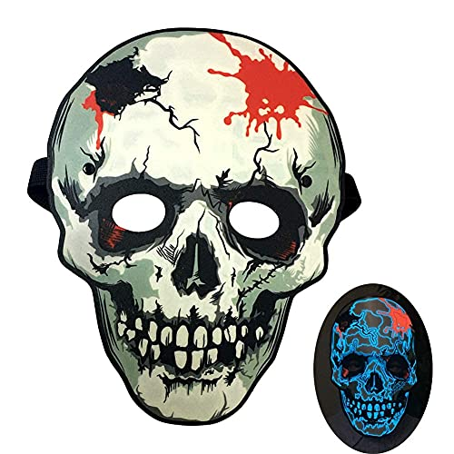 Kampeaburr Cosplay Glow Mask Cool Glowing Mask Masque de fête à LED Masque lumineux à activation vocale, le masque lumineux pour bar, danse, équitation, patinage, fête et tout festival (Squelette)