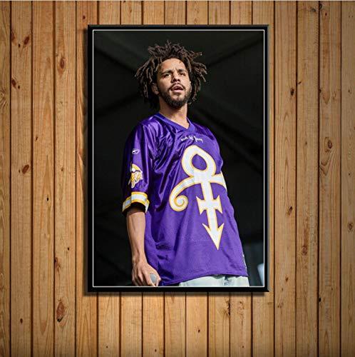 zpbzambm Frameless Wall Painting 40X50Cm - J Cole Rap Hip Hop Music Star Singer Rapper Art Silk Painting Canvas Wall Poster Home Decor Zp-1964