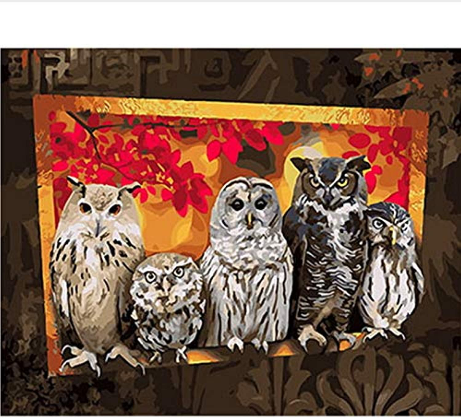 CAYYOU DIY painting by numbers picture oil painting on canvas for home decor animal painting owl family, Framed, 50x60cm