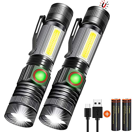 LED Flashlight Rechargeable, Tactical Flashlight Magnetic with Cob (Battery Included), Pocket-Size LED Torch with Clip, Waterproof, Zoomable, 4 Mode Flash Light for Camping, Emergency Use