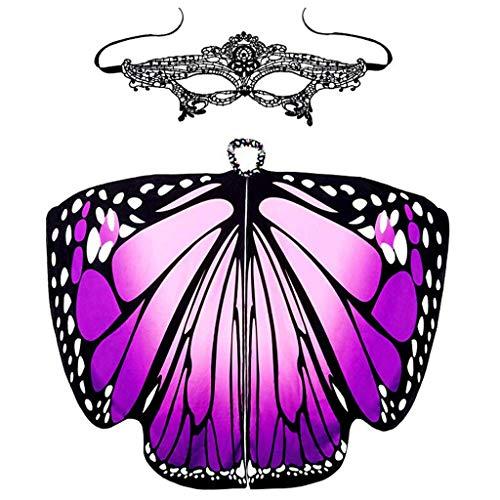 LOPILY Schmetterling Flügel Kostüme mit Masken Elegant Damen Karneval Faschingskostüm Schmetterlingsflügel Feenkostüm Damen Karneval Cosplay Accessoires