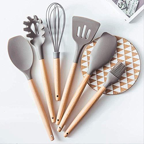 YIBOKANG Silicone ustensware Set Cookware Set Turner Pinces antiadhésifs Cuillère de cuisine Spatule Spatule