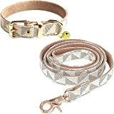 """Size: S Leather Dog Collar neck size is adjustable from 10.2"""" to 11.8""""/ Width is 0.6"""" - Total Length of Collar is 13.7"""".Dog Leash Size Length is: 4 ft(include the clasp), width: 0.6"""". Please measure your dog's neck with a soft measuring tape to choos..."""