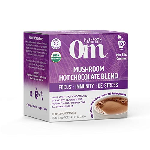 Om Mushroom Superfood Organic Hot Chocolate Mushroom Powder 10 Count, 0.21 OZ