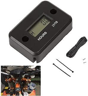 Marrkey Portable Digital Tach Hour Meter Gauge LCD for 4 Stroke Gas Engine Offroad Panel Hour ATV Motorcycle Generator Bike (Black)