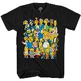 The Simpsons Springfield Group Montage Bart Homer T-Shirt(Black,Medium)