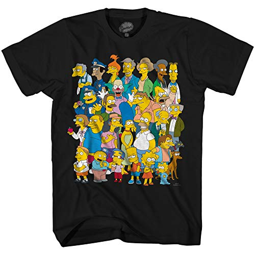 The Simpsons Springfield Group Montage Bart Homer T-Shirt(Black,X-Large)