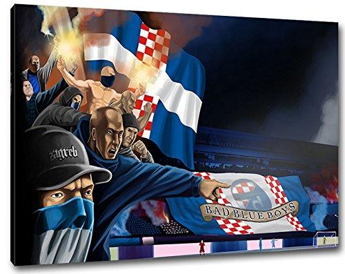 Ultras Kroatien Bad Blue Boys Format: 100x70, Bild auf Leinwand XL, fertig gerahmt
