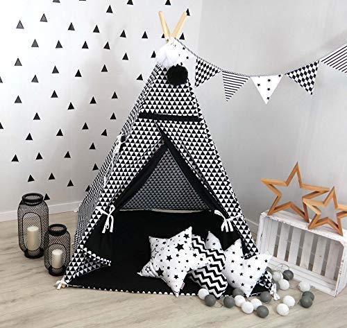 TS Tipi Teepee 4 Zubehör Set Spielzelt Kinder Zelt Indianerzelt Kissen Decke 14 Farben (Schwarz-Weiß Dreiecke)