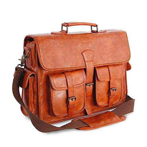Mens Messenger Bag 17 Inch Vintage Handmade PU Briefcase for Laptop Best Computer Satchel for Business Travel and School Brown