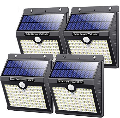 Kilponen Luz Solar Exterior,【4 Paquete - 180 °Iluminación 】Foco Solar Exterior con Sensor de Movimiento y 3 Modos Inteligentes Lámpara Solar Impermeable Luz de Seguridad para jardín Camino