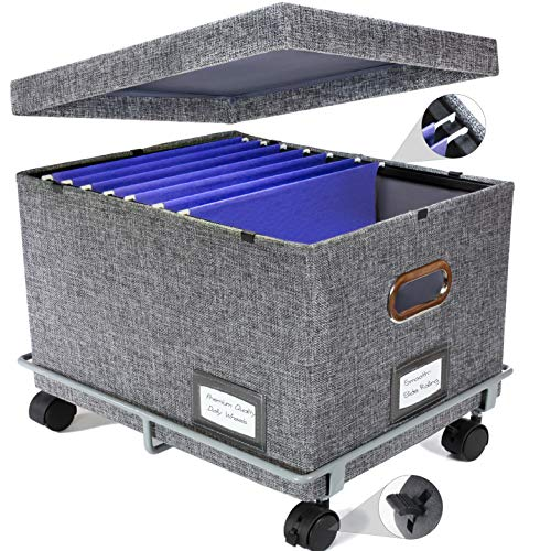 Premium Collapsible File Storage Organizer With Dolly Wheels  Office Hanging File Box  Smooth Sliding Rail  Fits LetterLegal  Charcoal  1 Pack