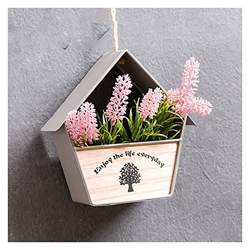 JINGZI Vintage old Small House Flower Pot Wall Hanging Bar Creative Simulation Potted Plant Food Shop Wall Decoration (Color : House gray)