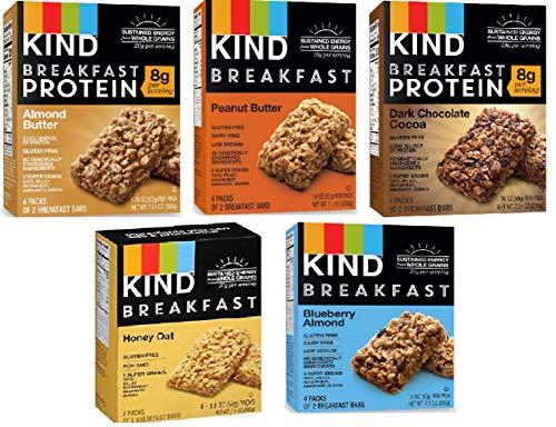 Kind Breakfast Bars New Variety 5 Pack. 1 Box of each: Dark Chocolate, Honey Oat, Peanut Butter,...