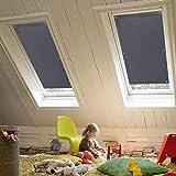 KINLO Tenda a Rullo 【Offer.Ta Limitata】 38 x 75 cm Tenda Oscurante per Velux Tetto con Ventose Senza Foratura Isolamento Termico e Protezione UV - Grigio Scuro