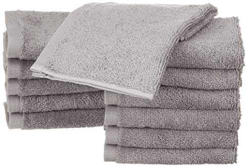 Amazon Basics - Waschlappen aus Baumwolle, 12er-Pack, Grau