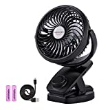 ADDSMILE Battery Operated Clip On Fan Rechargeable Desk Fan for Baby Stroller Car