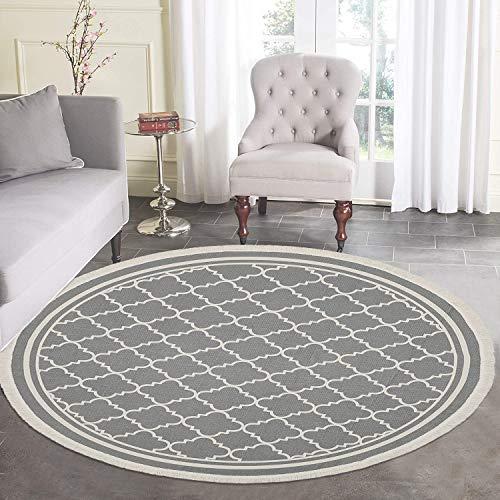 Pauwer Runder Teppiche Handgewebte Baumwolle Teppiche mit Quasten rutschfest Abwaschbar Teppiche für Wohnzimmer Schlafzimmer Kinderzimmer (Grau, Runde 120cm)
