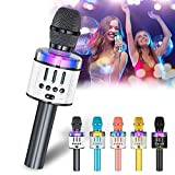 Verkstar Karaoke Microphone for Kids & Adult, Handheld Wireless Bluetooth Karaoke Mic Speaker Music Player Recorder with LED Lights for Birthday Party, Wedding, Christmas