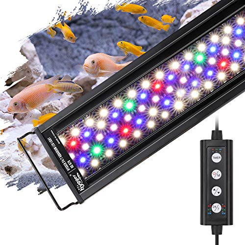 MingDak 24//7 Submersible Aquarium Light for Fish Tank,Auto Turn on//Off Day//Night Cycle,3 Stage Timer for Timing,3 Lighting Mode,True 660Nm RED LEDs,Brightness Adjust,18 LEDs 7.5 Inch