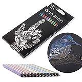 Metallic Colored Pencils 12 Colors - Non-toxic Black Wood Colored Pencils Pre-sharpened Wooden Sketching Pencils Set for Adults Coloring Book, Art Drawing, Black Paper, No Duplicates