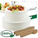 250 Pieces Disposable Dinnerware Set, Compostable Plant Based Cutlery Eco-Friendly Tableware Includes Heavy Duty Forks, Knives, spoons and Biodegradable Paper Plates Combo for Party, Camping, Picnic (Natural)