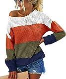 PRETTYGARDEN Women's Casual Striped Color Block Knit Sweater Long Sleeve Crew Neck Loose Pullover Tunic Blouse Tops Orange