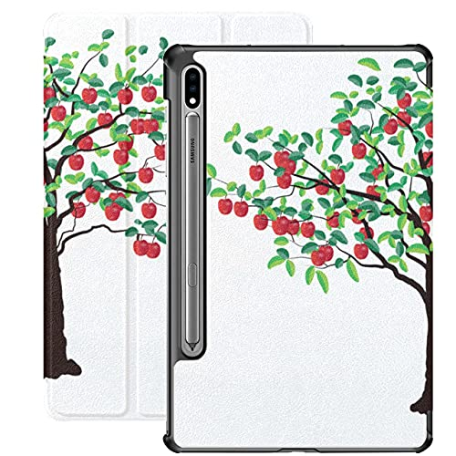 Apple Tree Grow Tree Cartoon Funda Samsung Tab E para Samsung Galaxy Tab S7 / s7 Plus Fundas Galaxy Tab A Cubierta Trasera con Soporte Funda Galaxy Tab A para Galaxy Tab S7 11 Pulgadas S7 P
