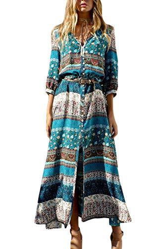 Vestido Mujer Bohemio Largo Verano Playa Fiesta Floral Cuello en V Maxi Vestidos